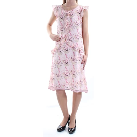 d68d496056 MAX STUDIO Womens Pink Ruffled Floral Cap Sleeve Jewel Neck Knee Length  Trapeze Dress Size