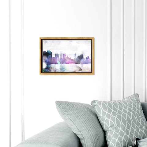 Oliver Gal 'Chicago Water' Cities and Skylines Wall Art Framed Canvas Print United States Cities - Purple, Black