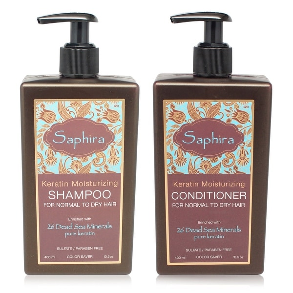 Saphira Keratin Moisturizing Shampoo and Conditioner 13.5 Oz Combo Pack