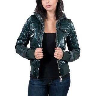 Williams Wilson Arlene Verde Forest Green Padded Women's Bomber/Hoodie Jacket