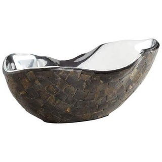 Cyan Design Large Ferrara Bowl Ferrara 14 Inch Wide Aluminum and Horn Decorative Bowl Made in India - Nickel