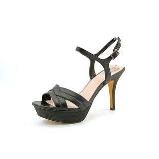 Vince Camuto Paden Women Open Toe Leather Black Platform Heel