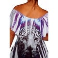 Funfash Plus Size Slimming White Tiger Face Empire Waist Womens Top Shirt - Thumbnail 1