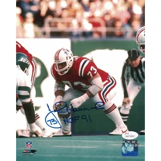 John Hannah Autographed New England Patriots 8x10 Photo HOF JSA