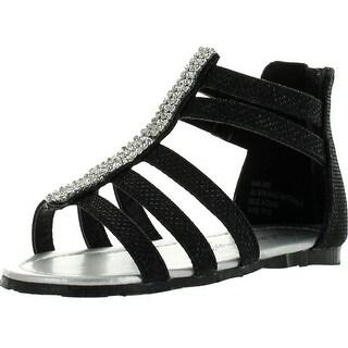 Little Angel Dani-822 Toddler's Strappy Rhinestone Back Zipper Flat Sandal Shoes