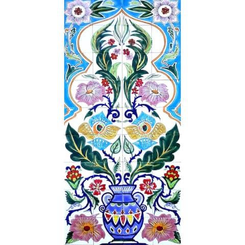 24in x 54in Arabesque Design 36pc Mosaic Tile Ceramic Wall Mural
