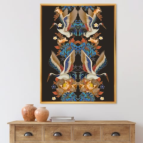 Designart 'Chinoiserie With Birds and Peonies IX' Traditional Framed Canvas Wall Art Print