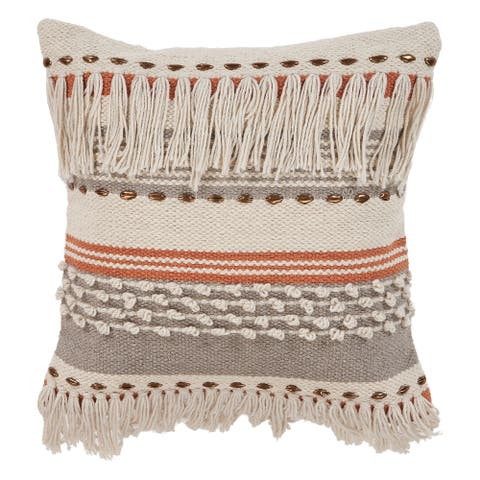LR Home Boho Fringed 18-Inch Cotton Decorative Pillow