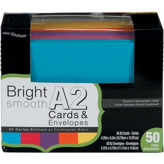 Core'dinations Smooth A2 Cards W/White Envelopes 50/Box-Brights