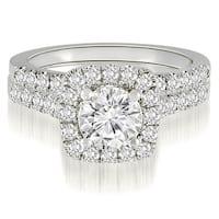 1.27 CT.TW Halo Round Cut Diamond Bridal Set - White H-I