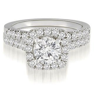 1.27 CT.TW Halo Round Cut Diamond Bridal Set - White H-I