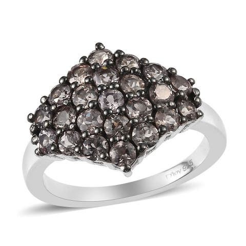 Shop LC Sterling Silver Andalusite Black Cluster Ring Ct 2