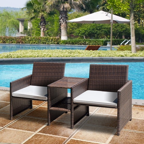 Costway Outdoor Rattan Sofa Set One Piece Furniture Patio Garden Lawn W/Cushioned Seat - as pic