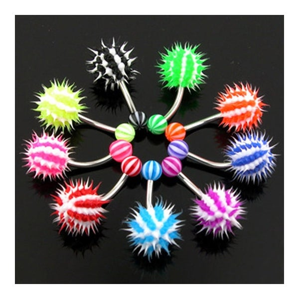 Navel Belly Button Ring With Candy Striped Silicone Spikey Koosh Ball 14ga 7 16 Long Sold Ind
