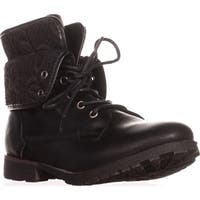 Rock & Candy Spraypaint Foldover Ankle Boots, Black Lace