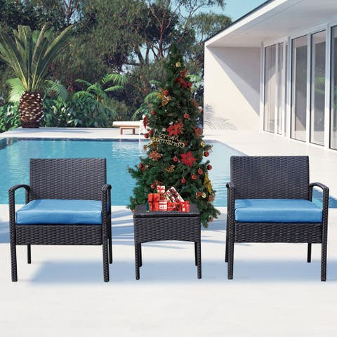 Grearden 3 Piece Outdoor Patio Wicker Bistro Chat Set with Cushions
