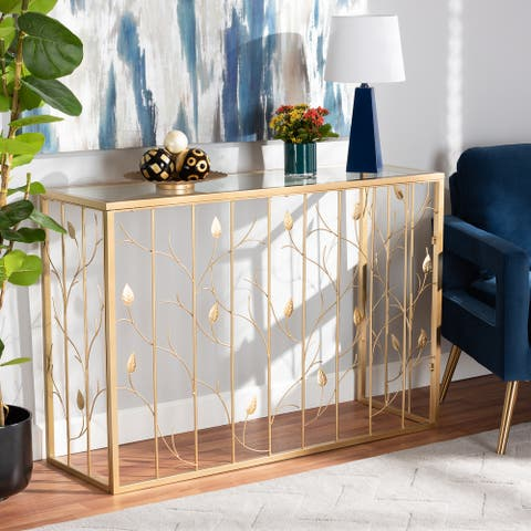 Anaya Glam Brushed Gold Finished Metal and Glass Leaf Console Table