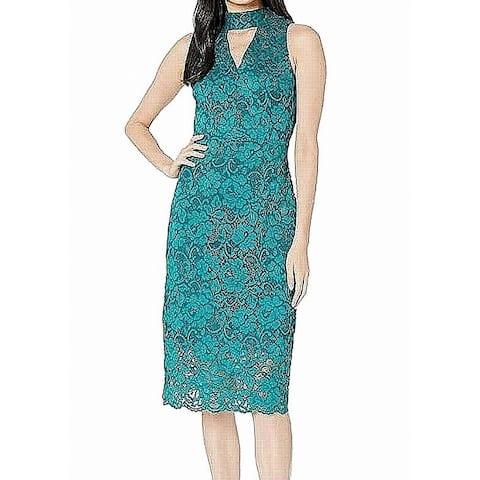 Sam Edelman Women's Dress Green Size 8 Sheath Lace Floral Keyhole