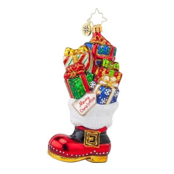 Christopher Radko Glass Christmas Loot Boot Santa Ornament #1017862