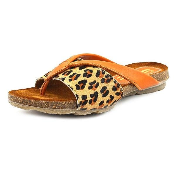 Sbicca Lumni Women Open Toe Leather Orange Thong Sandal