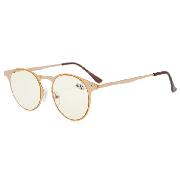Eyekepper Metal Round Frame Spring Temples Computer Reading Glasses Readers (Yellow Lens, +2.75)