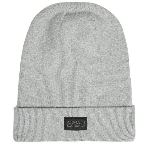 Armani Exchange Mens Logo Patch Beanie Grey