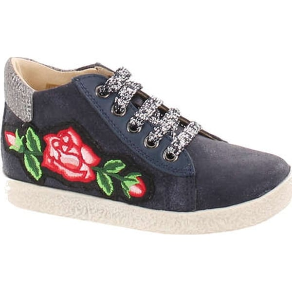 Falcotto Girls 1589 Lace Up Designer Flower Booties - glitter bleu