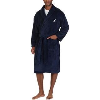 Nautica Mens Short Robe Plush Embriodered - o/s