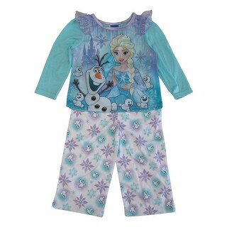 Disney Little Girls Blue Frozen Elsa Olaf Long Sleeve 2 Pcs Pajama Set