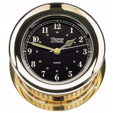 """8"""" Black and Gold Traditional Round Shaped Desk Clock"""