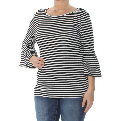 MAX STUDIO Womens Black Striped Bell Sleeve Scoop Neck Top Size: L