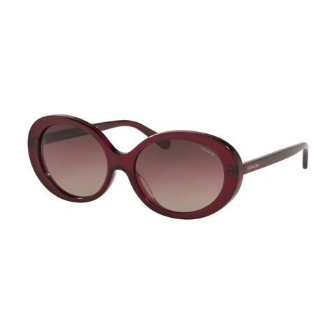 Coach HC8270U 5557E2 55 Transparent Burgundy Woman Oval Sunglasses