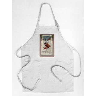 Merry Christmas - Couple Sledding - Vintage Holiday Art (Cotton/Polyester Chef's Apron)