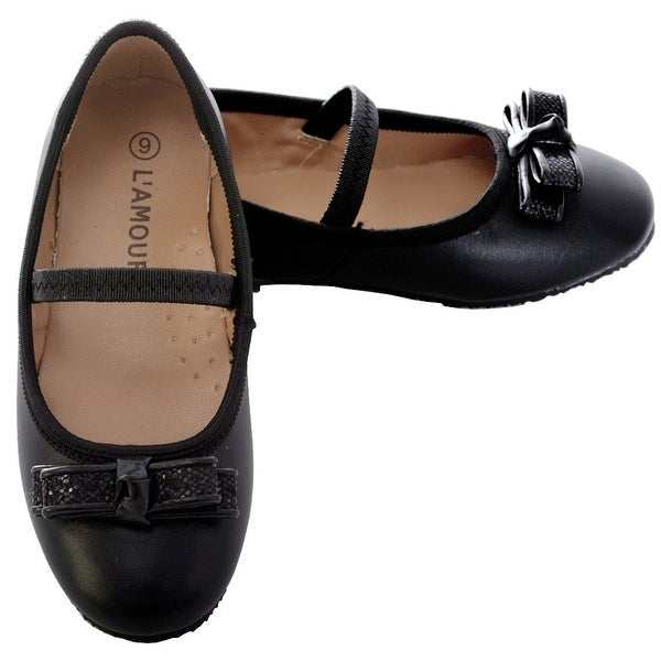 e87035edfe6a Shop L Amour Black Sparkle Bow Ballet Flat Shoe Toddler Girl 5-10 - Free  Shipping Today - Overstock.com - 23089495