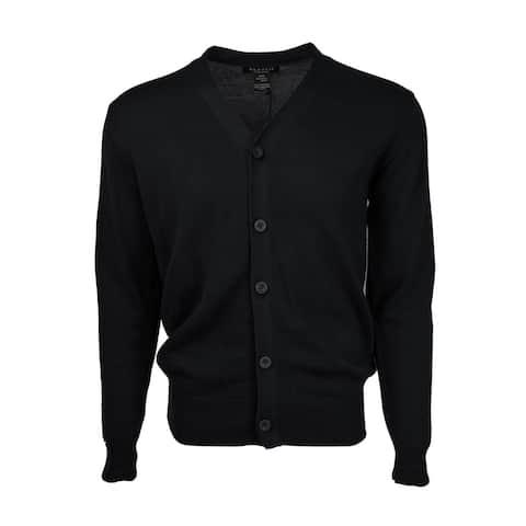 Marquis Men's Black Solid Button Cotton Sweater Cardigan