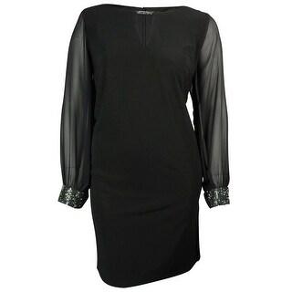 Patra Women's Keyhole Embellished Bell Sleeves Jersey Dress - Black