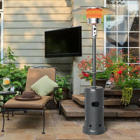 Gymax Outdoor Patio Heater Propane Standing LP Gas Steel W/Table & Wheels Silver