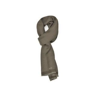 Tom Ford Men's Olive Polka Dot Print Silk Double Side Fringed Scarf - M