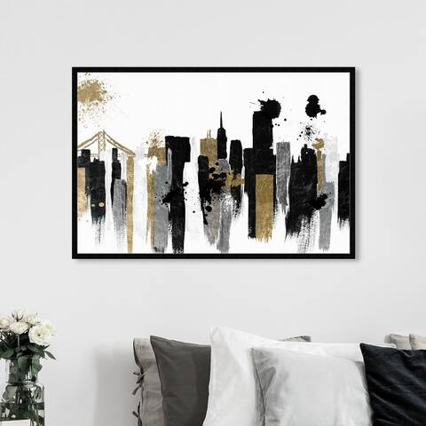 Oliver Gal 'Glamorous San Francisco' Cities and Skylines Wall Art Framed Print United States Cities - Black, Gold
