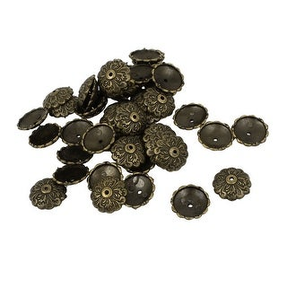 50 Pcs Flower Carve Board Map Push Pins Thumbtacks w Steel Point Bronze Tone