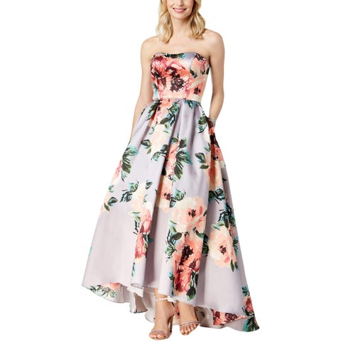 Betsy & Adam Womens Formal Dress Strapless Floral Print