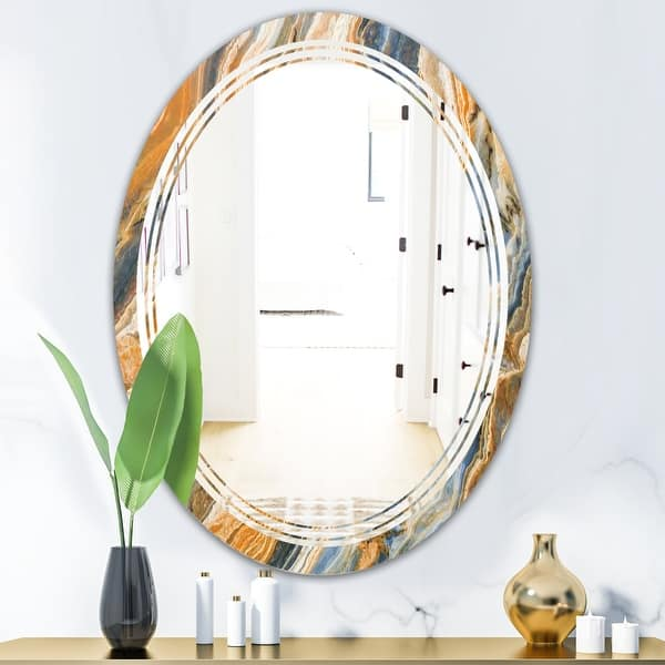 Designart Marbled Geode 4 Modern Round Or Oval Wall Mirror Triple C On Sale Overstock 29913284