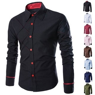 Men's Casual Business Buttoned Long Sleeve Grid Slim Fit Stylish Dress Shirt Top