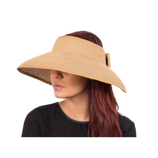 Fashion Wide Brim Visor Style Straw Summer Beach Hat Adjustable, Brown