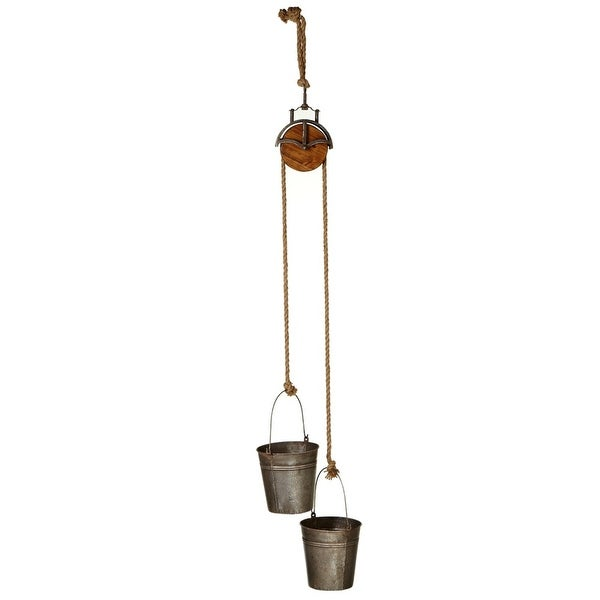 """Set of 2 Double Metal Bucket Planter with Pulley Hanger 57"""" - N/A"""
