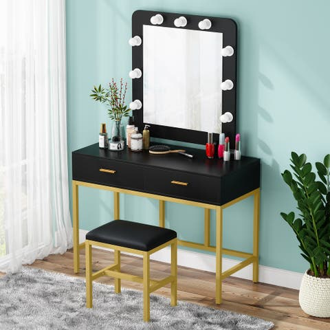 Vanity Set Dressing Table with Lighted Mirror and 2 Drawers