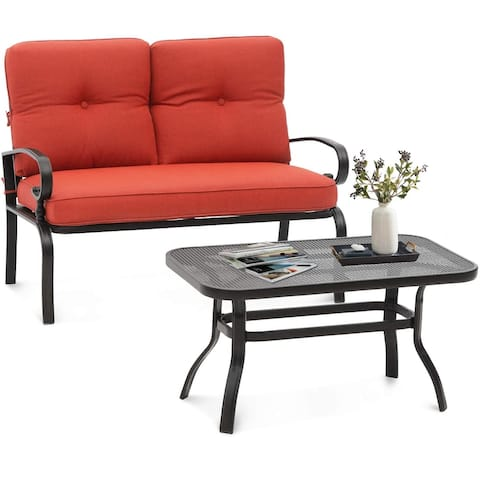 SUNCROWN Outdoor Patio Loveseat and Coffee Table Set