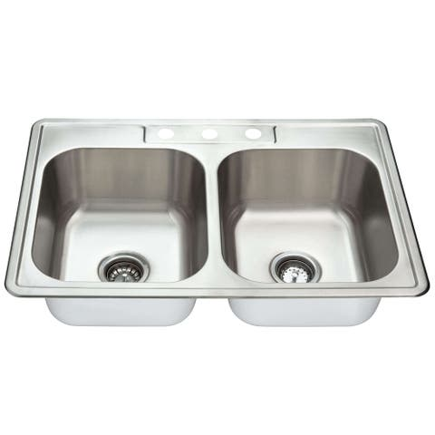 Fine Fixtures Stainless Steel Equal Double Bowl Sink