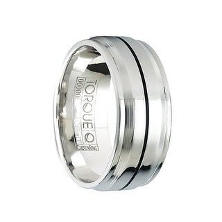 BROCK Cobalt Polished Wedding Band with Black Linear Raised Center Design by Crown Ring - 9mm