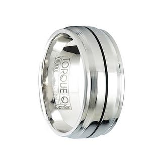 brock cobalt polished wedding band with black linear raised center design by crown ring 9mm - Cobalt Wedding Rings